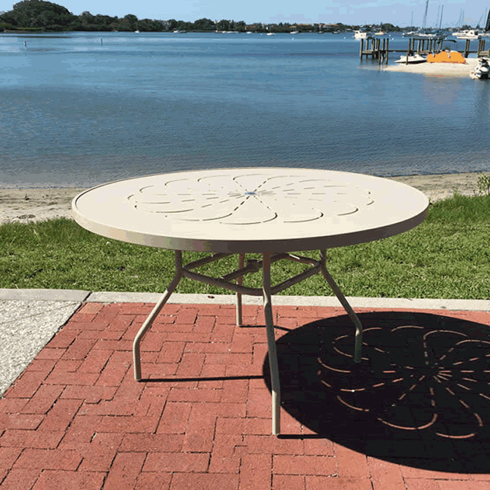 Punch Metal Top Round Outdoor Height Table with Round Tube Legs