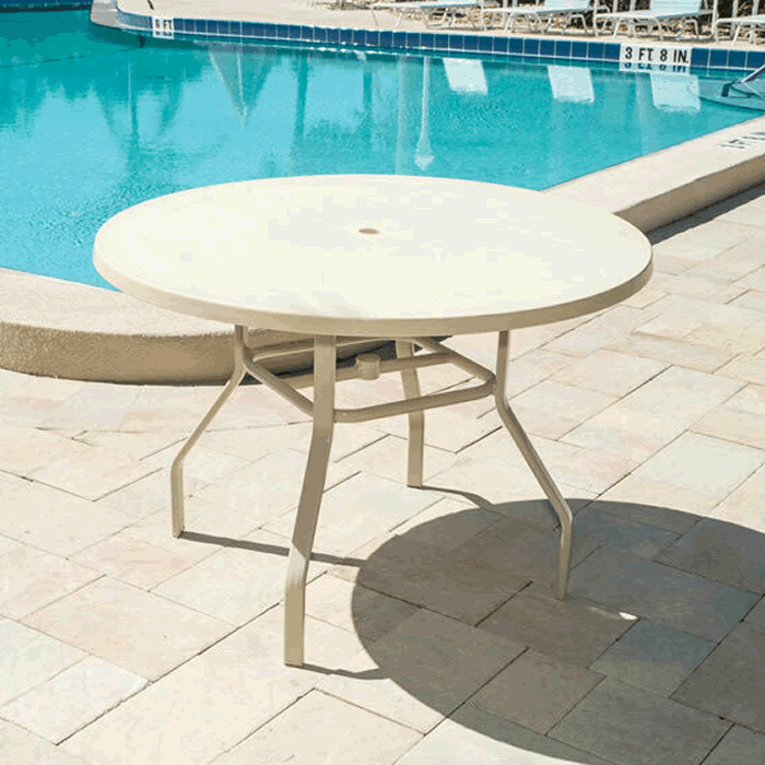 """42"""" Round Fiberglass Top Dining Table with Umbrella Hole"""