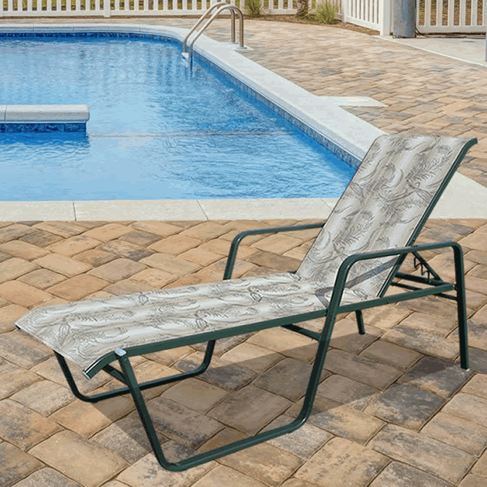 Lido Sling Stackable Chaise Lounge with Arms