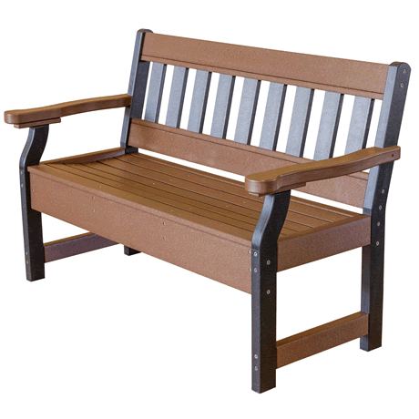 Garden Bench - Tudor Brown on Black - Two Tone Color Combinations Are Available, Call for Info