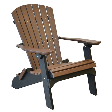 Folding Adirondack Chair - Tudor Brown on Black - Two Tone Color Combinations Are Available, Call for Info