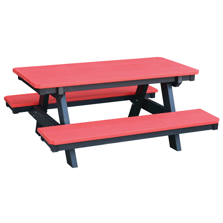 Child's Picnic Table - Bright Red on Black - Two Tone Color Combinations Are Available, Call for Info