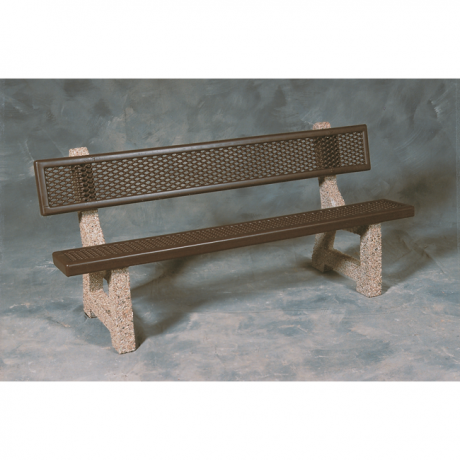 Lakeside Concrete Bench with Powder Coated Seat and Back