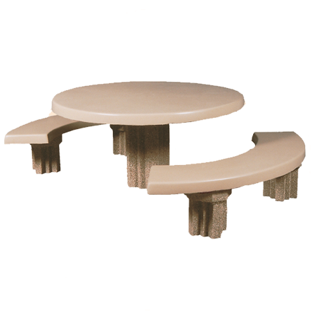 Round Concrete Pedestal Table-Picnic Tables