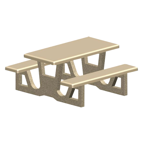 Concrete Rectangle Top Table with Attached Seats