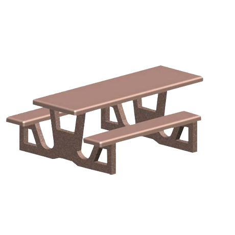 ADA Concrete Rectangle Top Table with Attached Seats