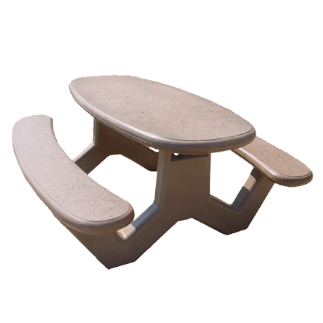 Concrete Oval Top Table with Y-Leg Base