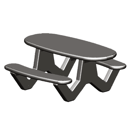 ADA Concrete Oval Top Table with Y-Leg Base