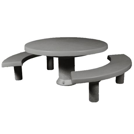 Concrete Round Top Table with Round Pedestals and Unattached Seats
