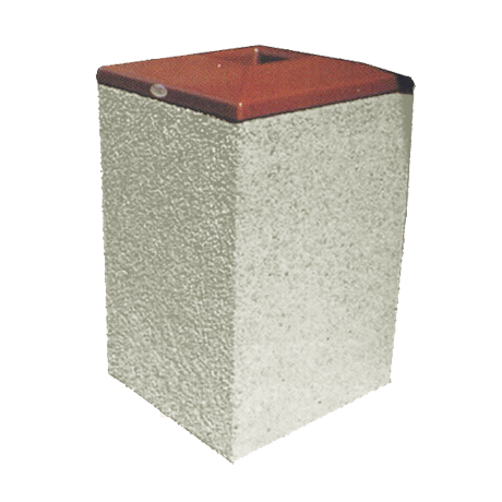 TCSF Series Square Concrete Trash Receptacle with Square Convex Pitch In Lid