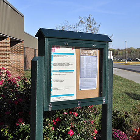 Medium Hinged Message Center, One Side, No Posts, 36 inches wide x 29 inches high, 60 lbs.