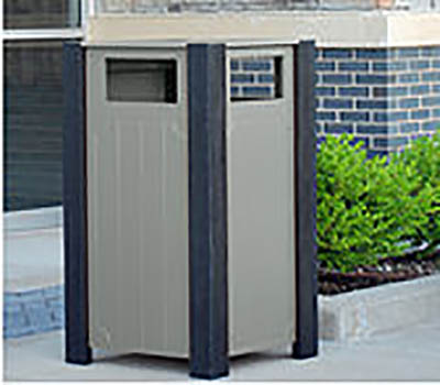 Ridgeview Recycled Plastic Trash Receptacle - Gray