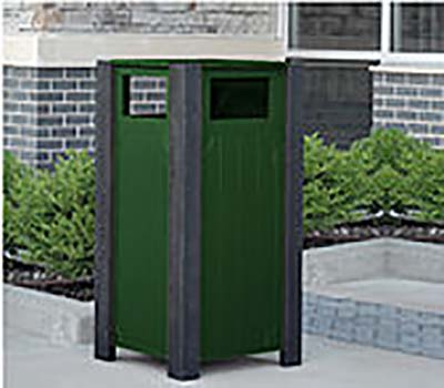 Ridgeview Recycled Plastic Trash Receptacle - Green