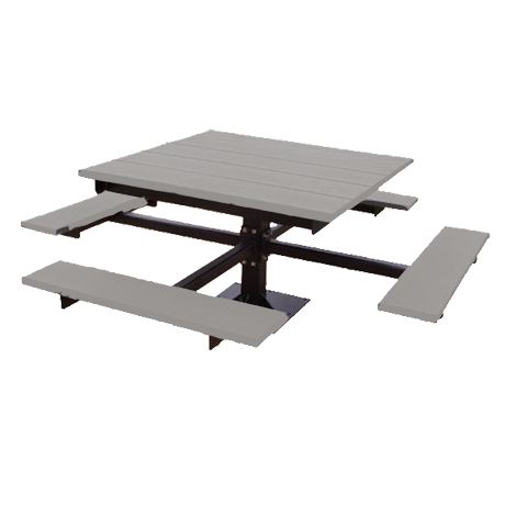 Recycled Plastic Picnic Table - T-Table, Recycled Plastic Top and Seats, Single Square Steel Post Frame, 4 ft. Square Top, 4 Seats, 320 lbs.