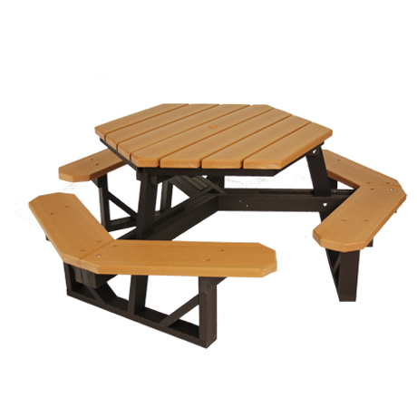 Recycled Plastic Picnic Table - Hexagonal, Recycled Plastic Top, Seats, and Frame, Top: 3-1/2 ft. Side-to-Side, 6 Seats, 250 lbs.
