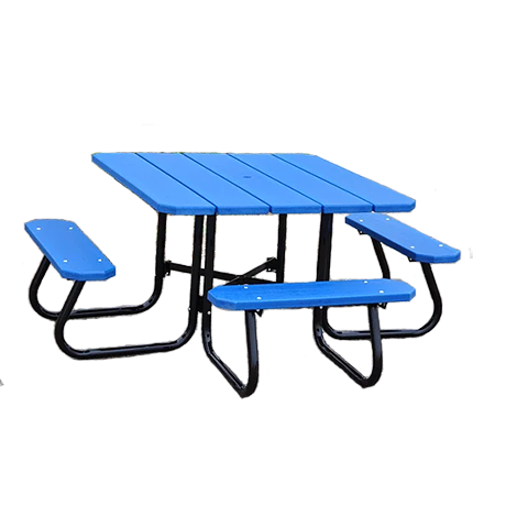 Recycled Plastic Picnic Table - Square Table - ADA, Recycled Plastic Top and Seats, Powder Coated Steel Tube Base, 4 ft. Square Top, 3 Seats, 220 lbs.