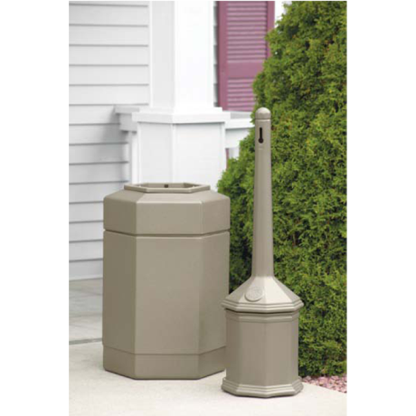 Site Saver Combination, Includes Site Saver Outpost and Receptacle, Color: Sand Granite (Beige), 19 lbs., Includes Site Saver Outdoor Ashtray and Waste Receptacle, Beige 515202