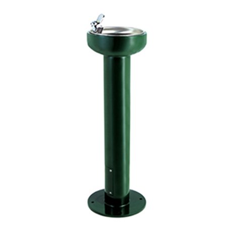 Small Cylinder Steel Drinking Fountain, Single Bubbler centered on top, Push Button Bubbler, Standard Plumbing
