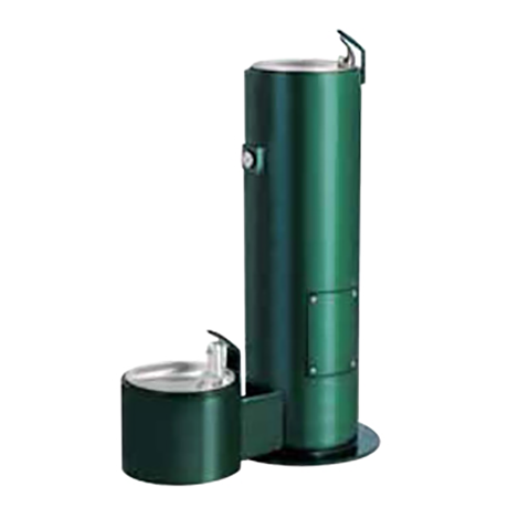 Cylindrical Pedestal Heavy Steel Drinking Fountain. Shown with Pet Fountain option (additional cost).