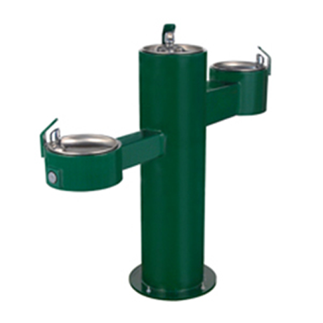 Triple Height Heavy Steel Drinking Fountain, Three Bubblers
