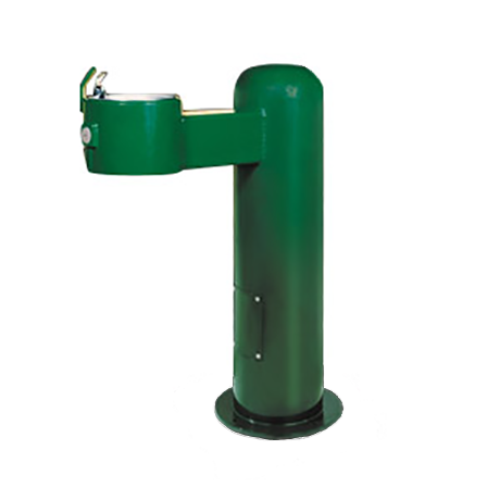 Cylindrical Pedestal Heavy Steel Drinking Fountain, Push Button Valve on side, Standard Plumbing