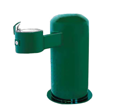 Refrigerated Pedestal Drinking Fountain, Single Bubbler mounted on side for handicap accessible, 275 lbs.
