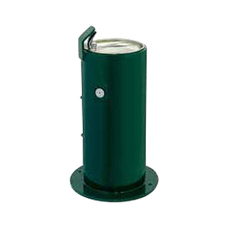 Child Height Cylindrical Pedestal Heavy Steel Drinking Fountain, Single Bubbler centered on top, Overall Height 24 inches, Push Button Valve on side, Standard Plumbing
