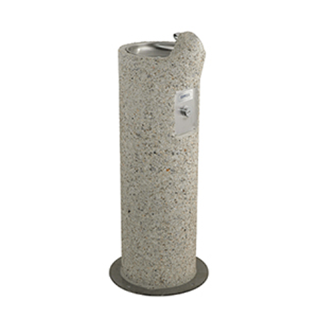 Round Aggregate Pedestal Drinking Fountain, Single bubbler centered on top of pedestal, Light Etched Concrete Aggregate, Standard Plumbing, 190 lbs.
