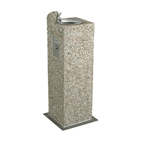 Square Aggregate Pedestal Drinking Fountain, Single bubbler centered on top of pedestal, Light Etched Concrete Aggregate, Standard Plumbing, 235 lbs.