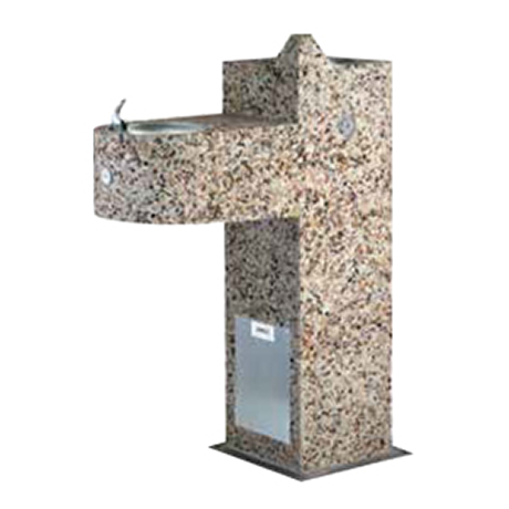 Square Aggregate Pedestal Drinking Fountain - Barrier Free, Dual bubblers, One on 18 inch arm (ADA), One centered on pedestal, Light Etched Concrete Aggregate, Standard Plumbing, 295 lbs.