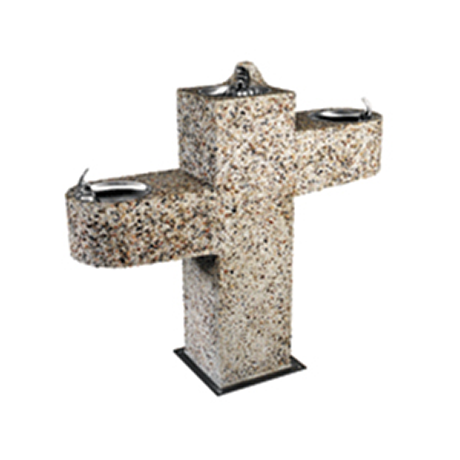 Square Aggregate Pedestal Drinking Fountain - Barrier Free, Triple bubblers, One on 18 inch arm (ADA), One on child height arm, One centered on pedestal, Light Etched Concrete Aggregate, Standard Plumbing, 295 lbs.