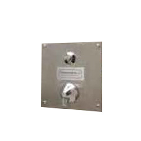 "Foot Wash Station - Wall Mount, One Push Button Spray Head on an 8"" x 8"" Stainless Steel wall Mounting Plate, 25 lbs."