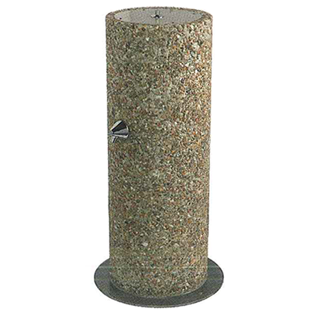 Round Aggregate Pedestal Outdoor Footwash Only, 32 inches High with One Spray Head, Light Etched Concrete Aggregate, Two Colors, Standard Plumbing, 160 lbs.