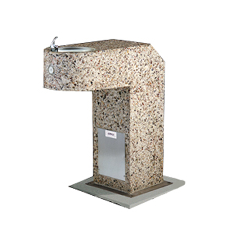 ADA Square Aggregate Pedestal Drinking Fountain with Single Bubbler and Standard Valve System