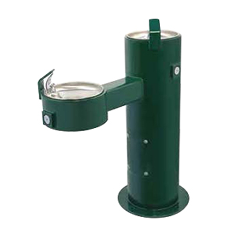 Barrier Free Round Metal Pedestal Dual Bubblers Drinking Fountain with Standard Valve System