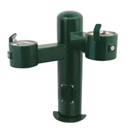 Wall Mount Barrier Free Round Metal Pedestal Dual Bubblers Drinking Fountain with Standard Valve System