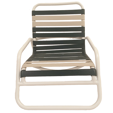 "Sand Chair, Aruba Collection, 1"" Round Tubing, 2"" Virgin Vinyl Straight Straps, Double Wrapped, Powder Coated Aluminum Frame, 11 lbs."