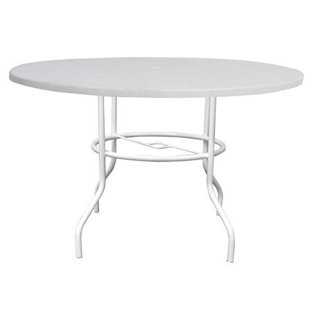 "48"" Round Fiberglass Top Dining Table with Umbrella Hole, Aluminum Frame, 29"" High"