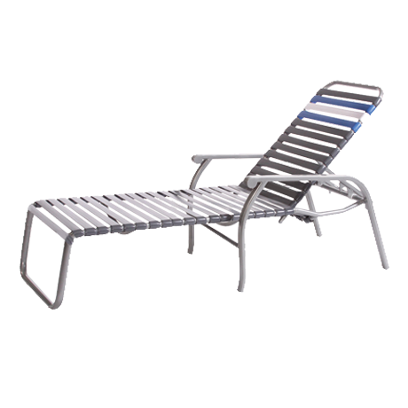 "Chaise Lounge, Bermuda Collection, 1"" Round Tubing, 2"" Virgin Vinyl Straight Straps, Double Wrapped, Powder Coated Aluminum Frame, Decorative Arms, Nylon Glide Feet, 28 lbs."