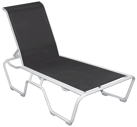 Lido Sling Stackable Chaise Lounge, Grade B Fabric Sling