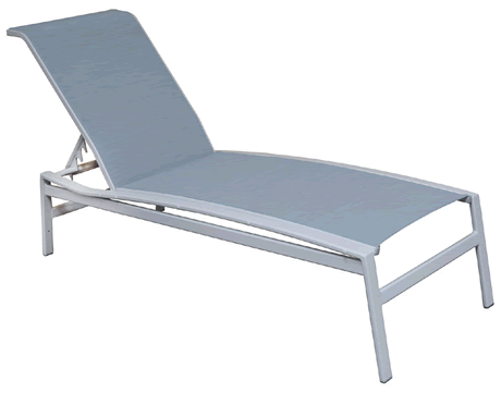 Galaxy Armless Chaise Lounge, Grade B Fabric Sling, Powder Coated Cast Aluminum Frame, Stackable