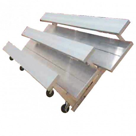 """3 Row  """"Low Rise"""" Tip n' Roll Standard Bleachers with Aluminum Frame-"""