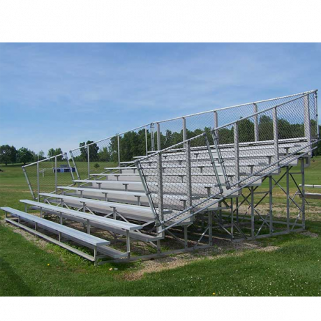 10 Row Transportable Standard Bleacher with Chainlink Guardrail and Aluminum Frame-