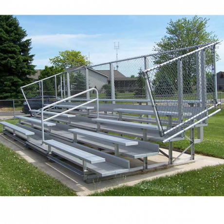 5 Row Transportable Deluxe Bleachers with Chainlink Guardrail and Aluminum Frame-
