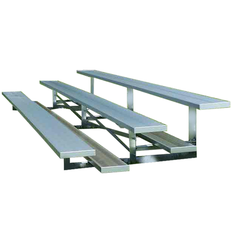 3 Row Non-Elevated Standard Bleacher with Aluminum Frame-