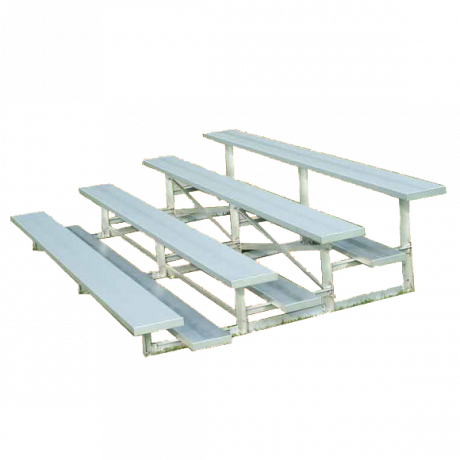 4 Row Low Rise Standard Non-Elevated Bleacher with Aluminum Frame-