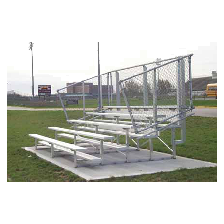5 Row Non-Elevated Standard Bleacher with Chainlink Guardrail and Aluminum Frame-