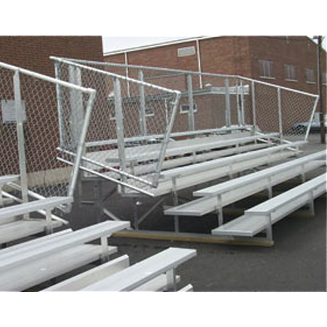 5 Row Non-Elevated Preferred Bleacher with Chainlink Guardrail and Aluminum Frame-