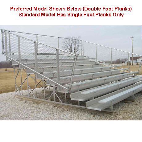 8 Row Non-Elevated Standard Bleacher with Chainlink Guardrails and Aluminum Frame-