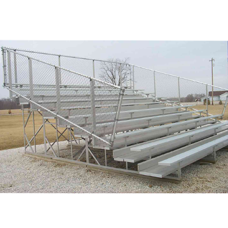 8 Row Non-Elevated Preferred Bleacher with Chainlink Guardrail and Aluminum Frame-
